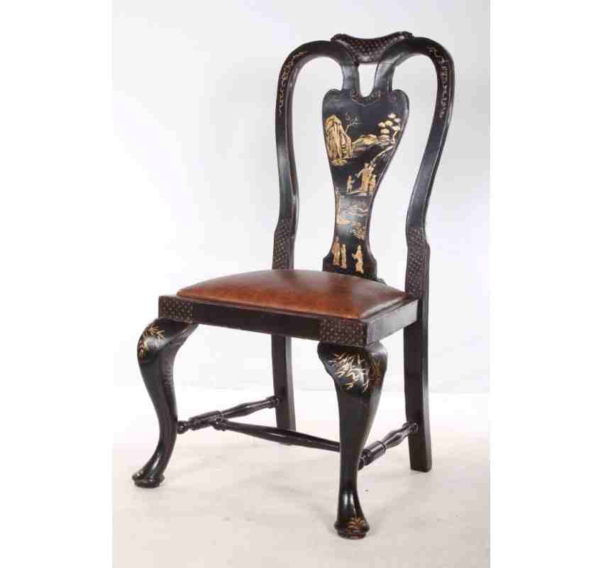 Set Of 6 Black Chinoiserie Queen Anne Style Chairs