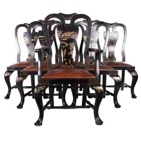 6 Queen Anne Style Chinoiserie Dining Chairs