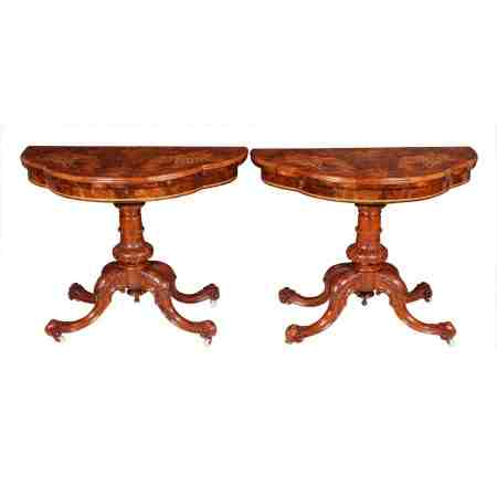 Pair of Victorian Marquetry Inlaid Walnut Card Tables