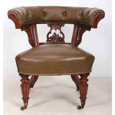Mahogany and Ostrich Skin Desk Chair