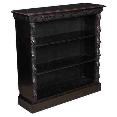 Solid Carved Oak Open Bookcase