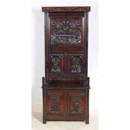 Carved Oak Porters Chair / Settle