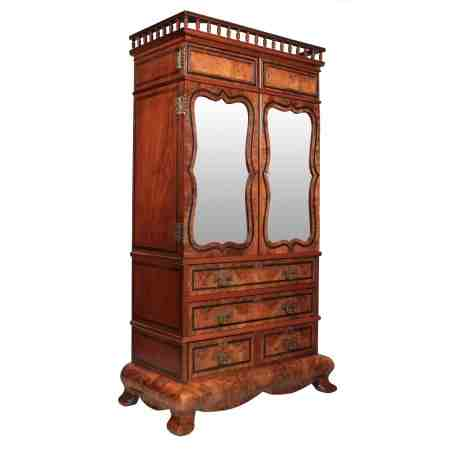 Unusual and interesting Walnut Cabinet on Stand