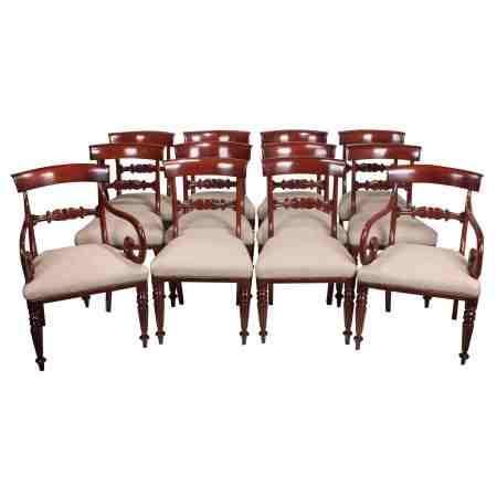 Set of 12 Mahogany Bar Back Chairs