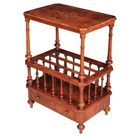 Victorian Inlaid Burr Walnut Magazine Rack