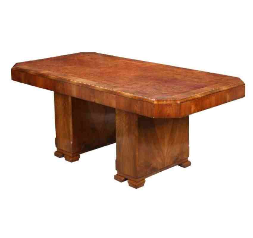 Art Deco Epstein Walnut Cloud Dining Suite Table And 6 Chairs