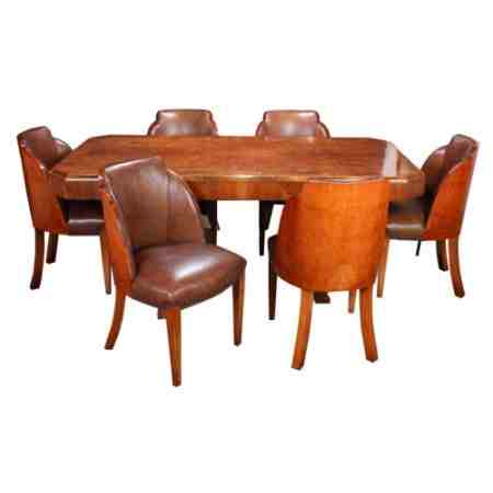 Art Deco Epstein Walnut Cloud Dining Suite (Table And 6 Chairs)