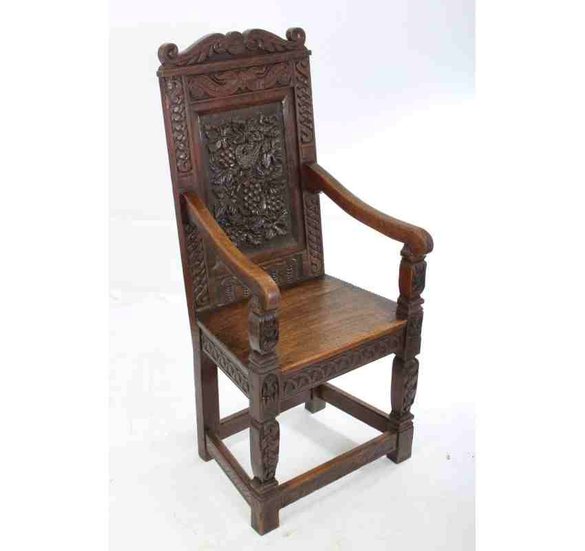 Wainscot Chair Carved Oak Wainscot Chair