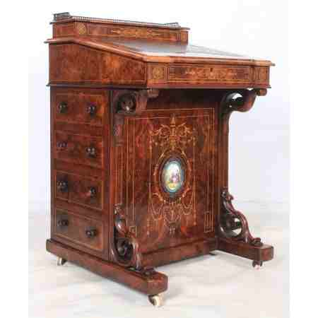 Marquetry Inlaid Walnut Davenport Small Desk