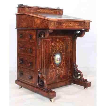 Marquetry Inlaid Walnut Davenport Small Desk