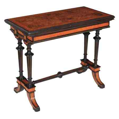 Ebony and Walnut Inlaid Card Table