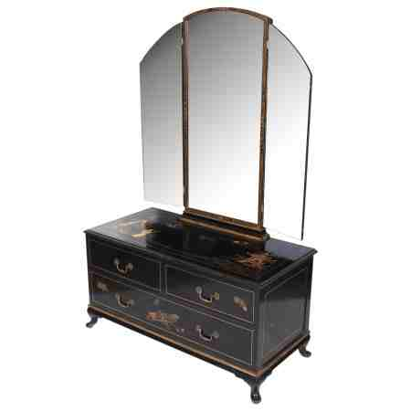 Black Japanned Chinoiserie Dressing Table