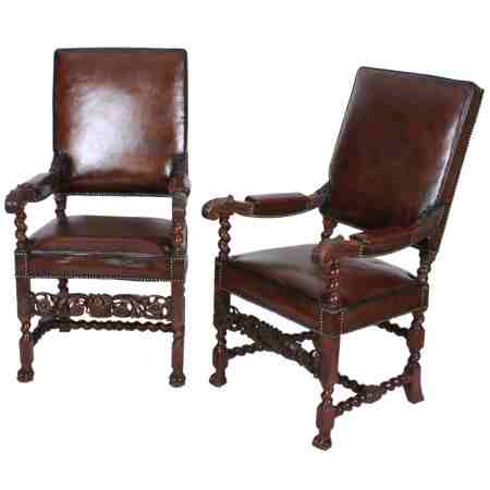 Pair of Carved Walnut and Leather Armchairs