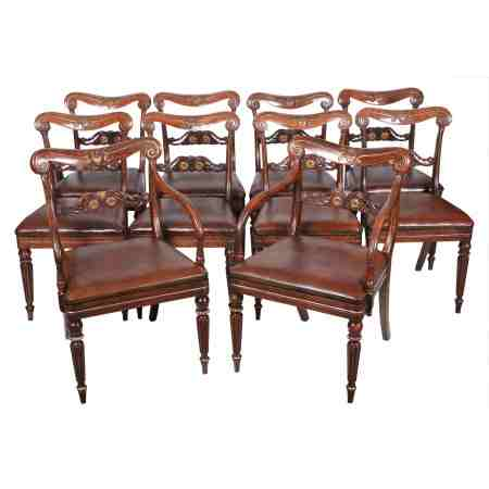 Set of 10 Impressive Regency Dining Chairs (8+2)