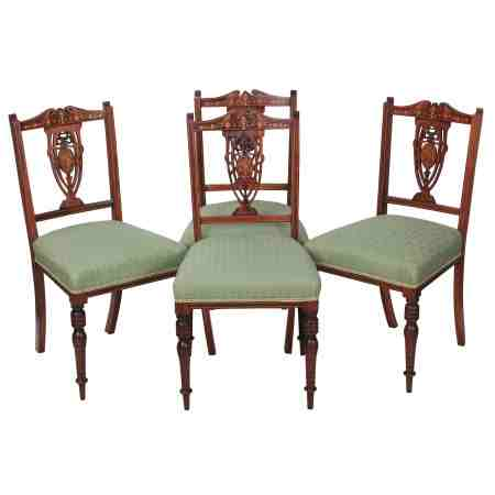 Set of 4 Marquetry Inlaid Rosewood Dining Chairs
