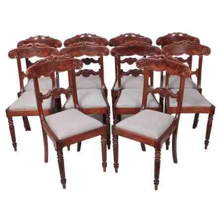 Set of 10 Mahogany Bar Back Dining Chairs