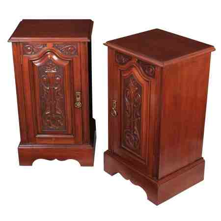 Pair of Carved Mahogany Bedside Cabinets
