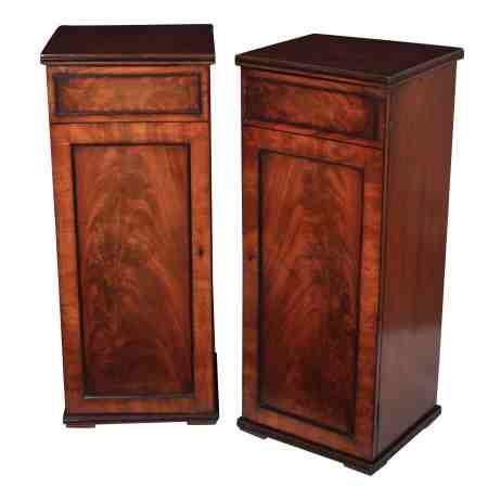 Pair of Tall Mahogany Pedestal Cabinets