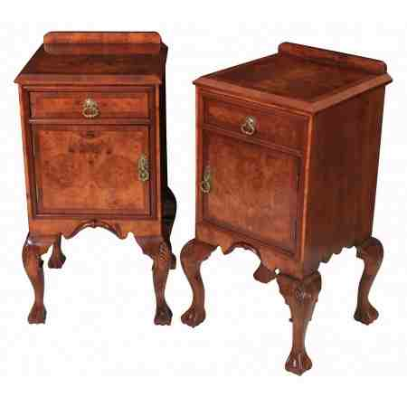 Pair of Walnut Queen Anne Style Bedside Cabinets