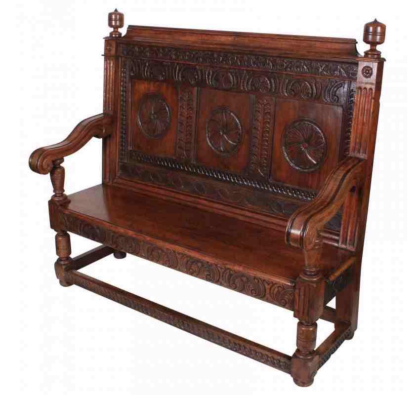 Carved solid oak hall bench