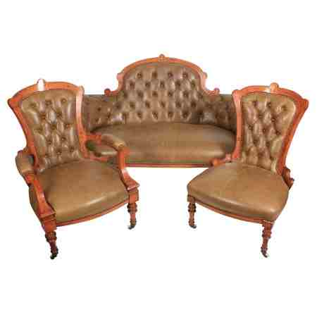 Victorian Inlaid Walnut Leather 3 Piece Suite