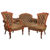 Victorian Leather Sofa and Matching Chairs with Walnut Inlay