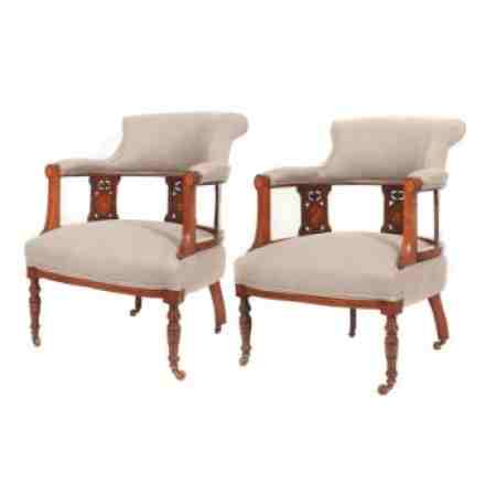 Pair of Marquetry Inlaid Rosewood & Mahogany Armchairs