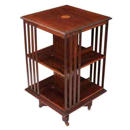 Rosewood Inlaid Revolving Bookcase