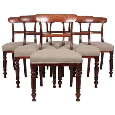 Set of 6 William IV Cuban Mahogany Dining Chairs