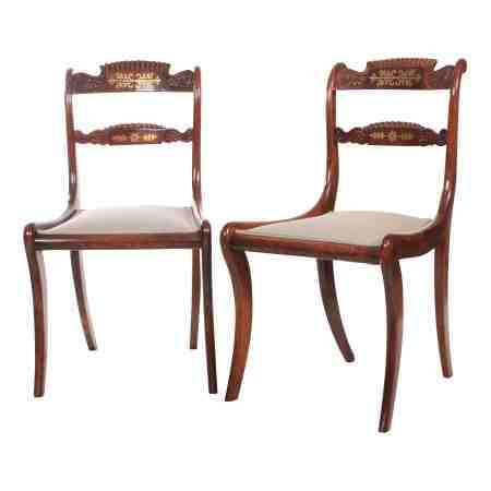 Pair of Regency Brass Inlaid Chairs