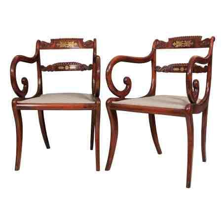 Pair of Regency Brass Inlaid Armchairs