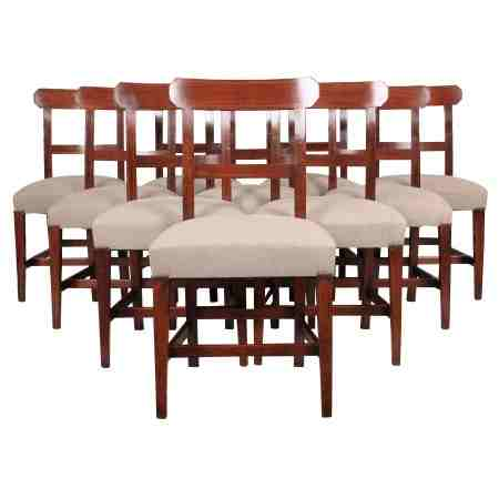 Set of 10 Georgian Mahogany Inlaid Dining Chairs