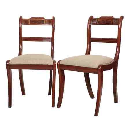Pair of Regency Mahogany Brass Inlaid Dining Chairs