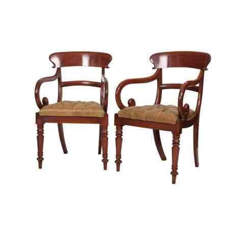 Pair of Regency Mahogany Buttoned Leather Armchairs