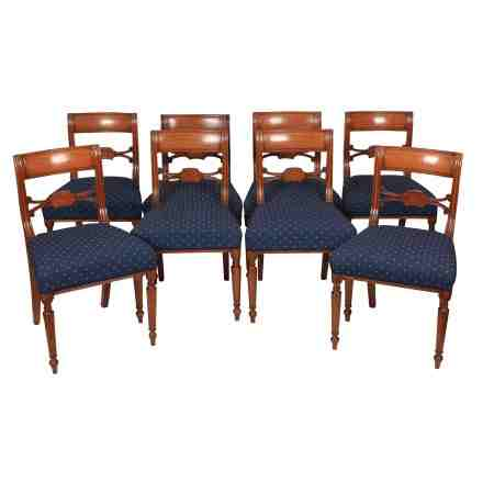 Set of 8 Regency Oak Dining Chairs