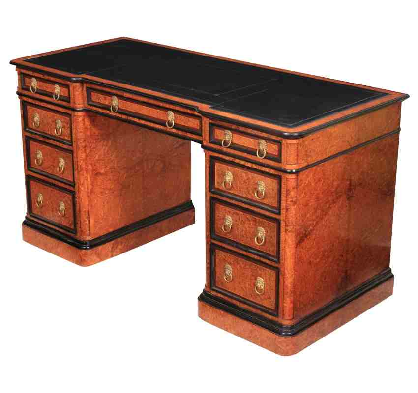 Magnificent Amboyna Desk - probably by Gillows - Antique Desk In London, Walnut Office/Writing Desk UK - LT Antiques