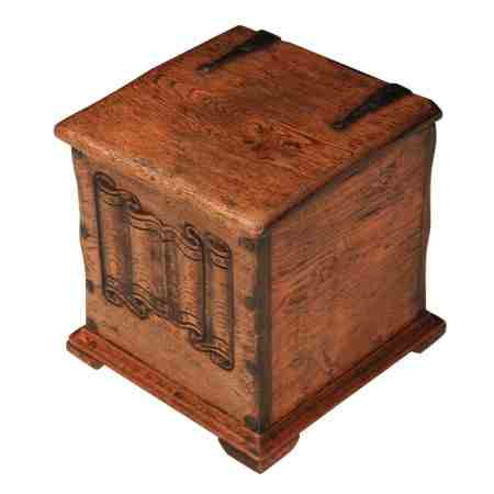 Solid Honey Oak Linen Fold Coal Box