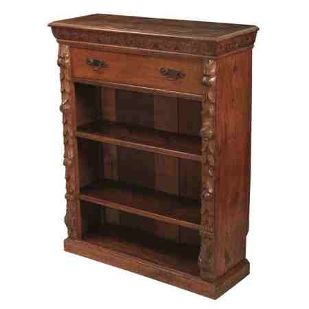 Carved Oak Open Bookcase