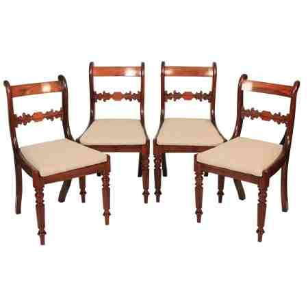 Set of 4 Rosewood Bar back Dining Chairs