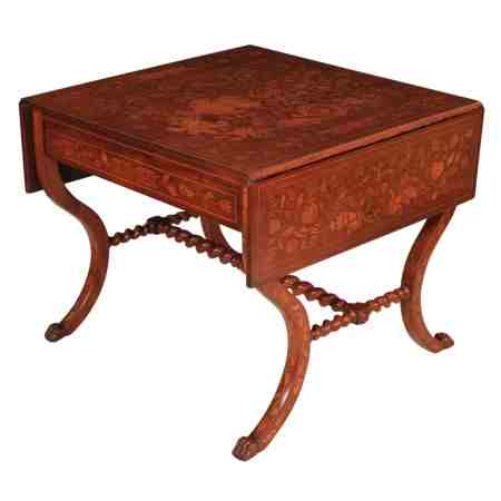 Dutch Marquetry Inlaid Walnut Sofa Table