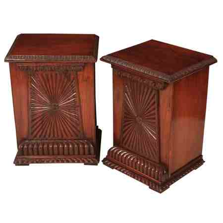 Pair of Anglo Indian Padauk Wood Bedside Cabinets