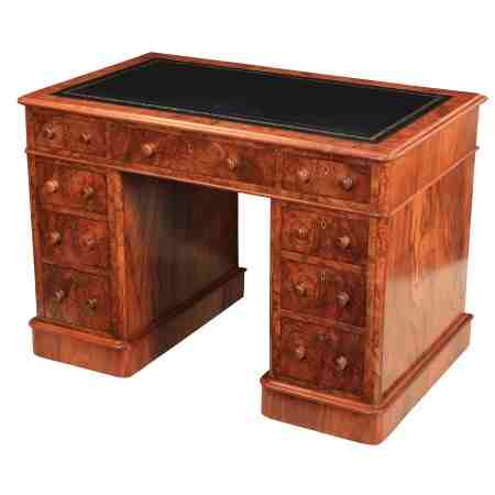 Victorian Figured Walnut Desk by Maple & Co