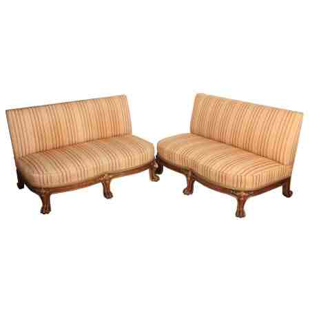 Pair of Walnut & Gilt Upholstered Sofas