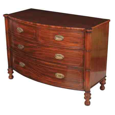 Low Inlaid Regency Bow Chest