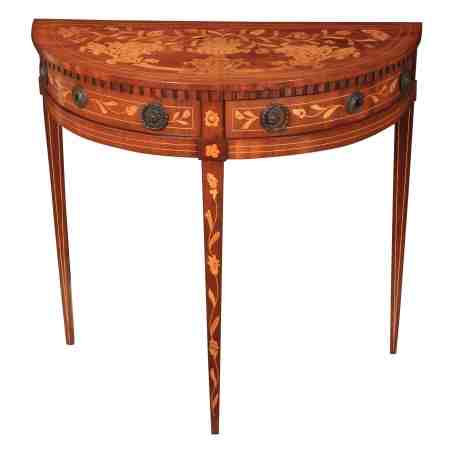 Walnut Dutch Marquetry Demi Lune Side Table