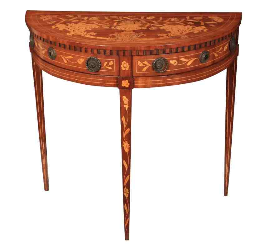 Walnut dutch marquetry demi lune side table for Chaise demi lune