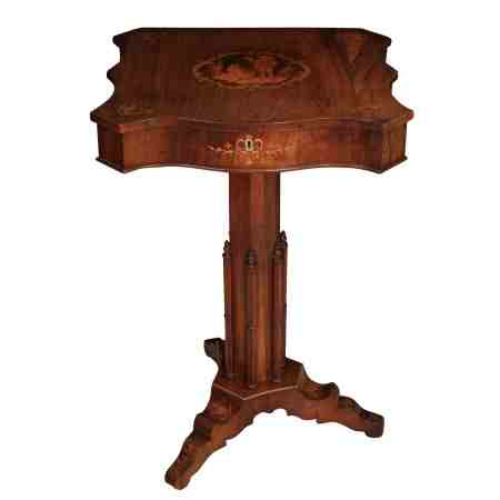 Rosewood Marquetry Inlaid Sewing Table