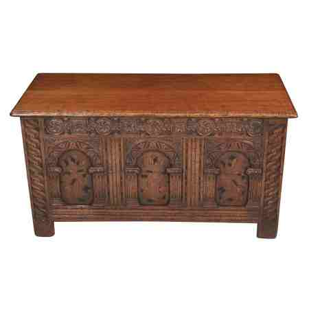 Solid Oak Carved Blanket Box Coffer