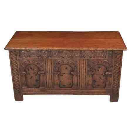 Solid Oak Carved Blanket Box Coffer