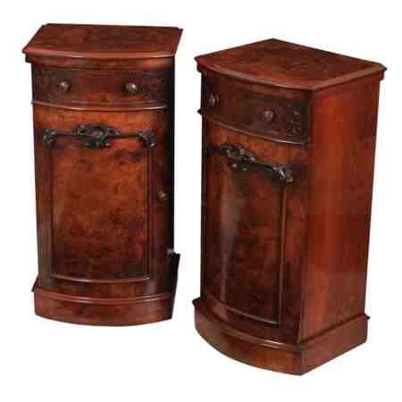 Pair of Bow Fronted Burr Walnut Bedside Cabinets
